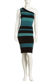 Andrew Marc Oneshoulder Striped Bandage Dress - Lyst