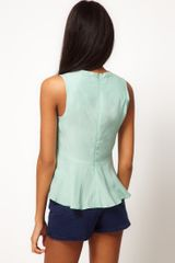 Asos Collection Asos Sleeveless Top with Peplum in Blue (mint) - Lyst