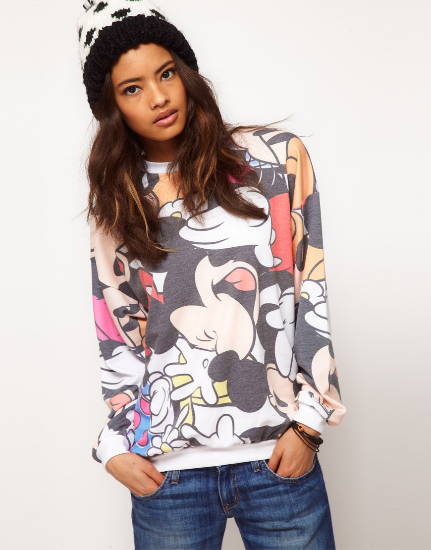 chaussures de sport 45626 afa80 ASOS Collection Asos Sweat with Multi Disney Toon Print - Lyst