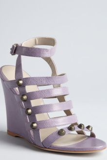 Balenciaga Wisteria Leather Studded Cage Wedge Sandals - Lyst
