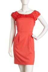 BCBGMAXAZRIA Floral Trim Cap Sleeve Dress - Lyst