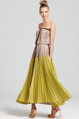 BCBGMAXAZRIA Pleated Ombre Maxi Dress - Lyst