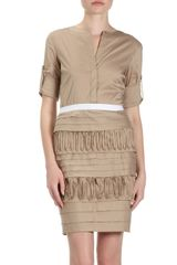 Bcbgmaxazria Tiered Shirt Dress in Khaki - Lyst