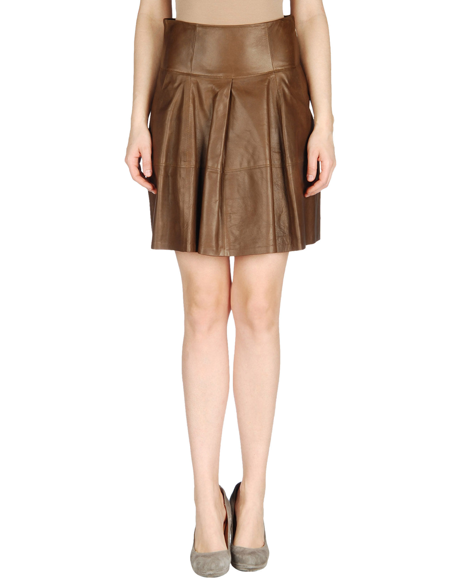 brunello cucinelli leather skirt in brown save 56 lyst