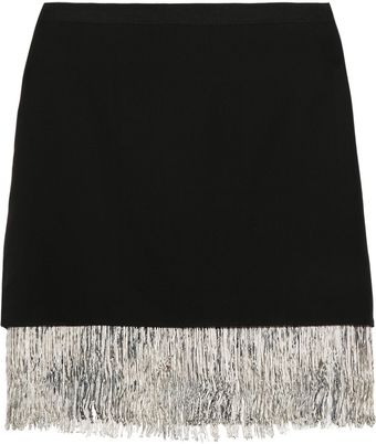 Elizabeth And James Fitzgerald Fringed Silkcrepe Skirt - Lyst