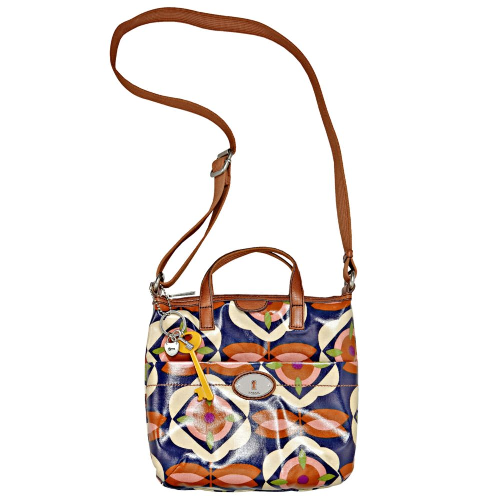 Fossil Vintage Keyper Coated Canvas Crossbody Bag In Multicolor (blue Floral) | Lyst