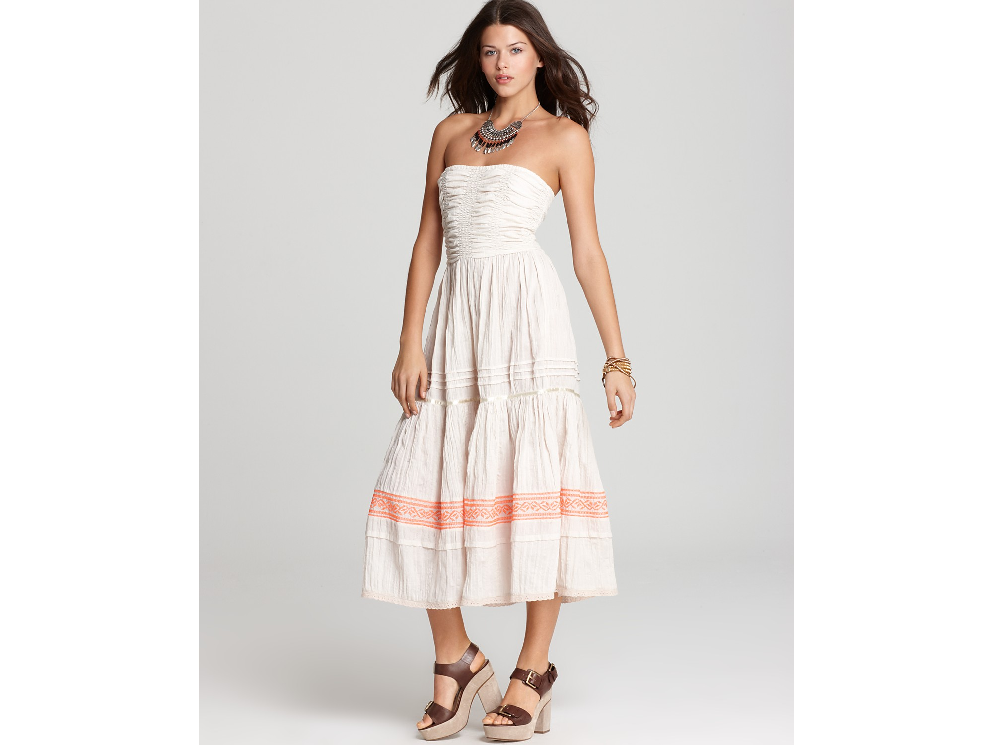 Lyst Free People Dress Starlines Gauze Festival In Natural