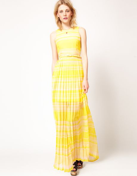 French Connection French Connection Stripe Maxi Dress in Yellow (peachalbatroubley) - Lyst