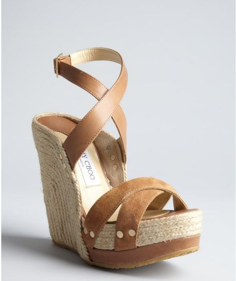 Jimmy Choo Beige Leather Perry Espadrille Wedges in Brown (beige) - Lyst