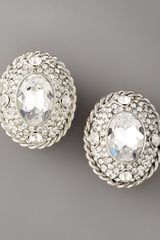 Jose & Maria Barrera Oval Crystal Clip Earrings - Lyst