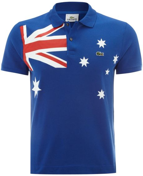 lacoste slim fit australia flag polo shirt in blue for men. Black Bedroom Furniture Sets. Home Design Ideas