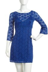 Laundry By Shelli Segal Bellsleeve Florallace Dress Bali Blue - Lyst