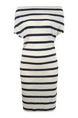 Linea Weekend Striped Cowl Neck Dress in Blue (navy) - Lyst