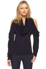 Michael Kors Coldshoulder Cowlneck Top in Black - Lyst