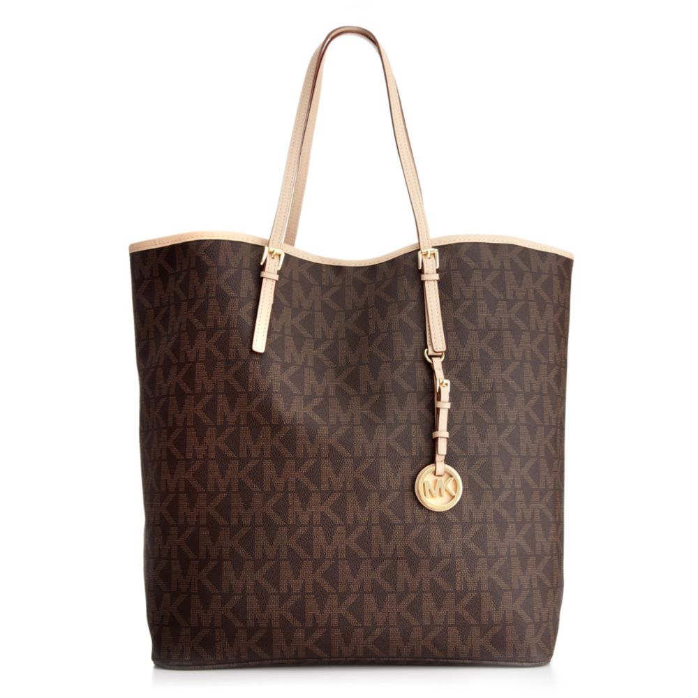 ce1acd6c28e275 Michael Kors Jet Set Travel Signature Large Ns Tote in Brown - Lyst
