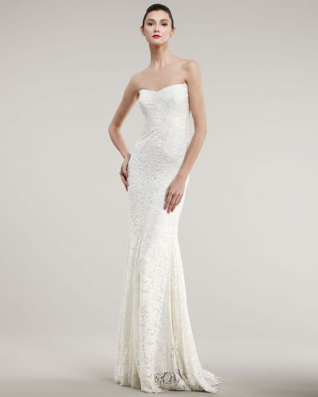 Nicole miller strapless lace bias gown in white antique for Nicole miller strapless wedding dress