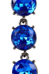 Oscar De La Renta Gunmetaltone Drop Clip Earrings in Blue (gunmetal) - Lyst