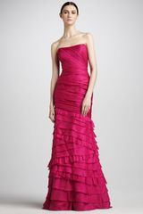 Theia Tiered Organza Gown - Lyst