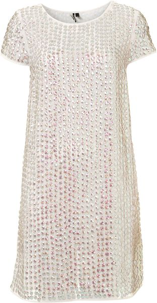 Topshop Shimmer Sequin Shift Dress - Lyst