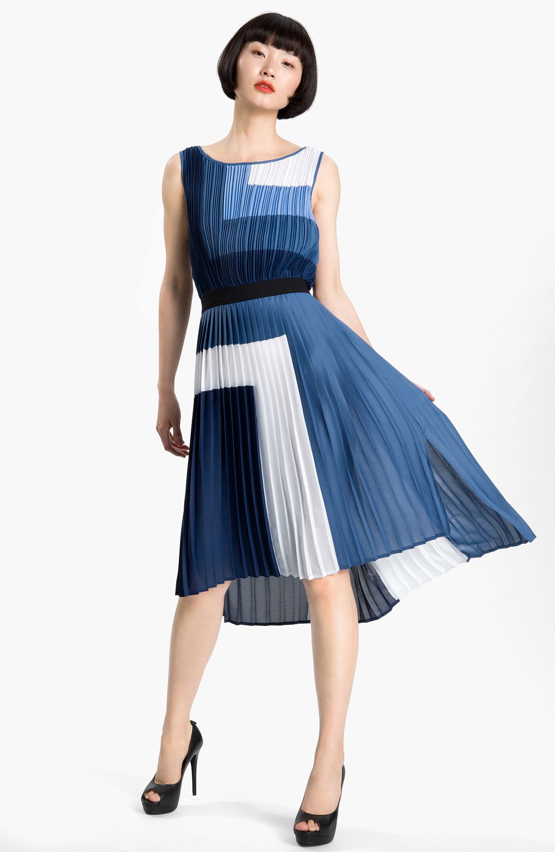 Bcbgmaxazria Pleated Colorblock Dress In Blue Blue Depth