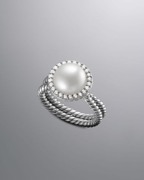 david yurman pave cable pearl ring in silver 7