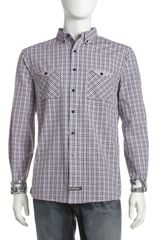 English Laundry Plaid Buttondown Shirt Purple - Lyst