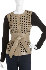 Escada Leather Lattice work Vest - Lyst