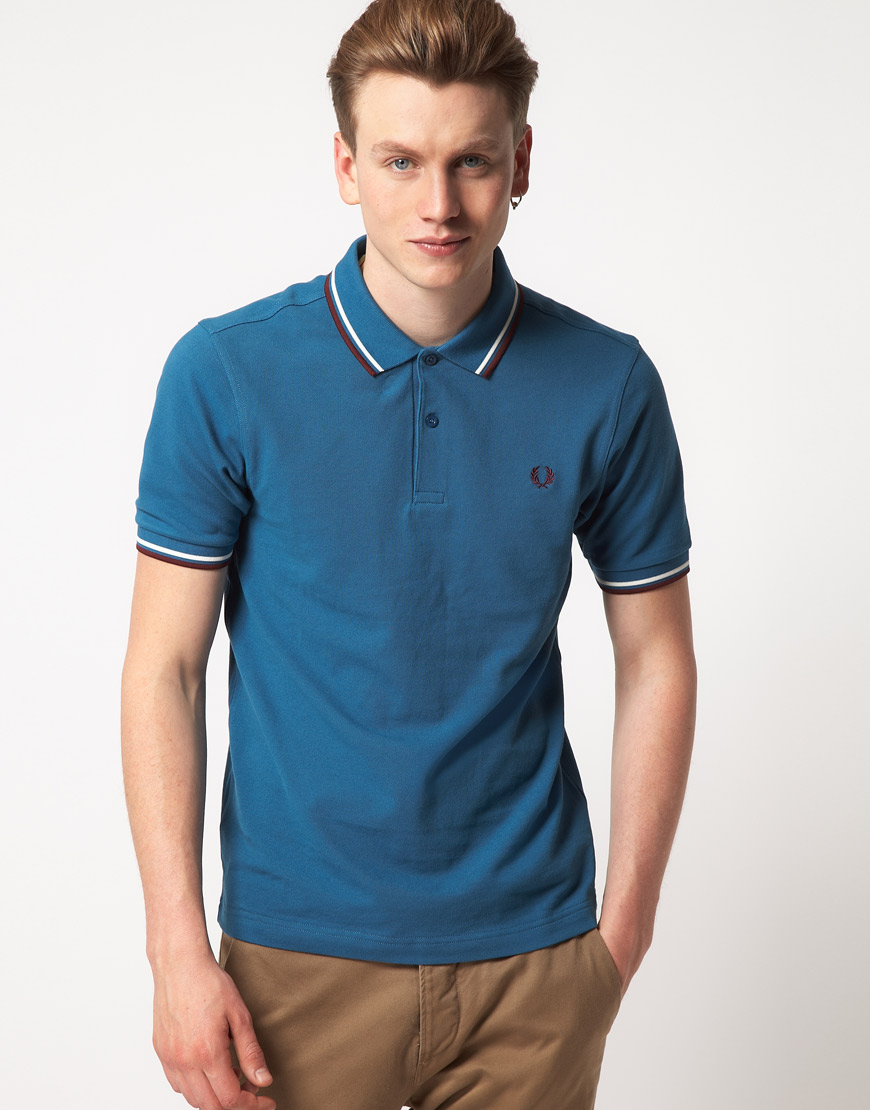 Lyst - Fred perry Fred Perry Twin Tipped Polo Shirt Slim ...