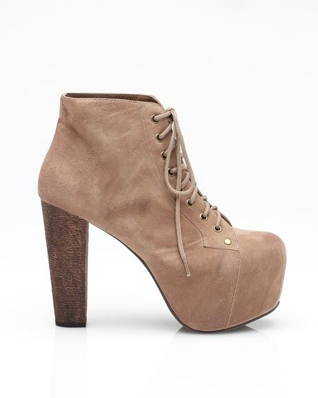 jeffrey campbell lita ankle bootie in brown taupe lyst. Black Bedroom Furniture Sets. Home Design Ideas