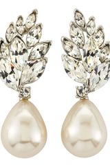 Kenneth Jay Lane Crystal Cluster Pearl Drop Earrings - Lyst