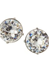 Kenneth Jay Lane Round Cubic Zirconia Stud Earrings Silvertone - Lyst