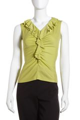 Lafayette 148 New York Ruffled V-Neck Tank Pear - Lyst