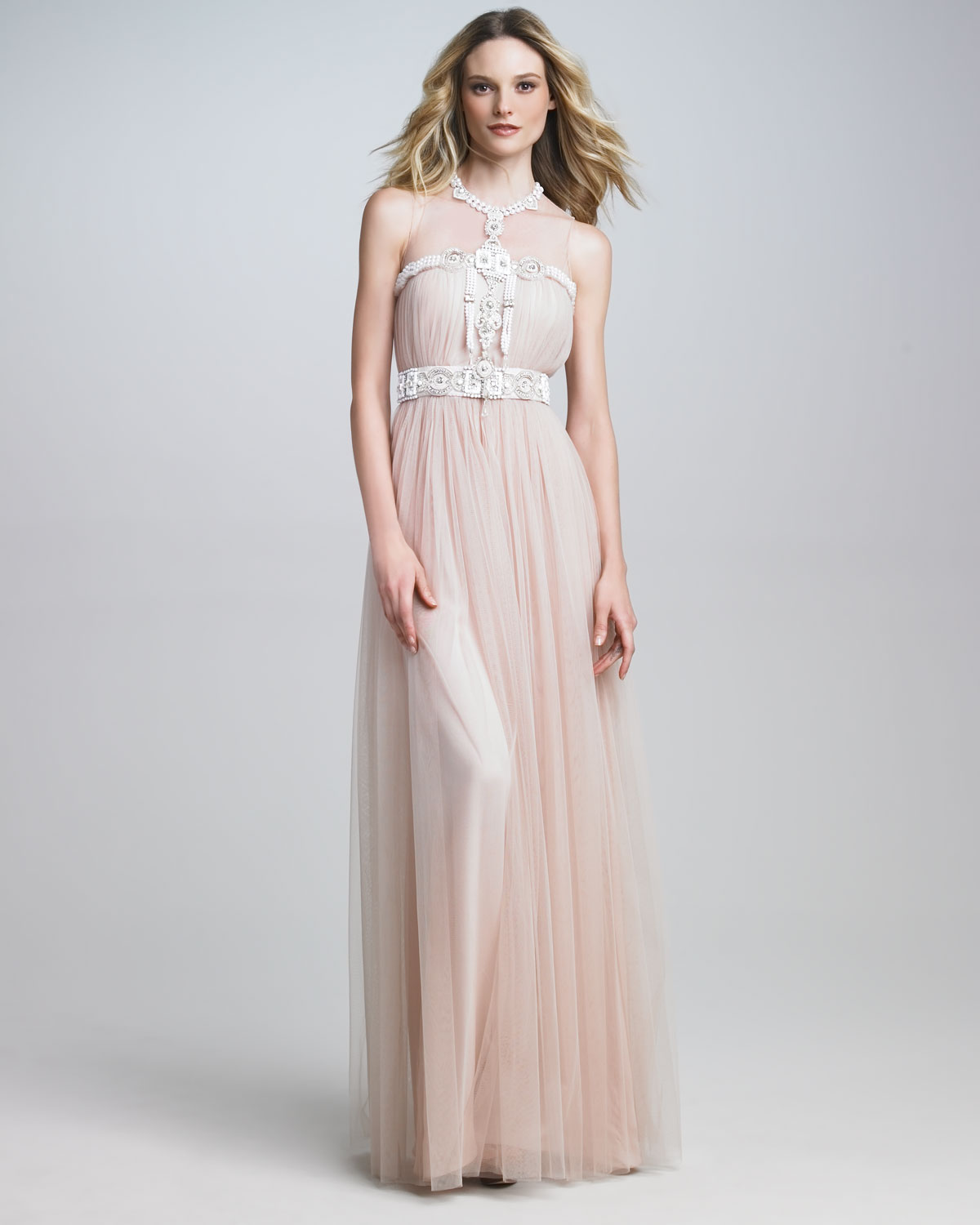 313ddc58 Naeem Khan Illusiontop Embroidered Gown in Pink - Lyst