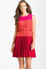 Taylor Dresses Pleated Colorblock Georgette Dress - Lyst