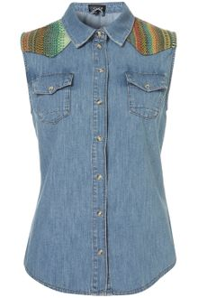 Topshop Sleeveless Tapestry Denim Shirt - Lyst