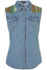 Topshop Sleeveless Tapestry Denim Shirt in Blue (mid stone) - Lyst