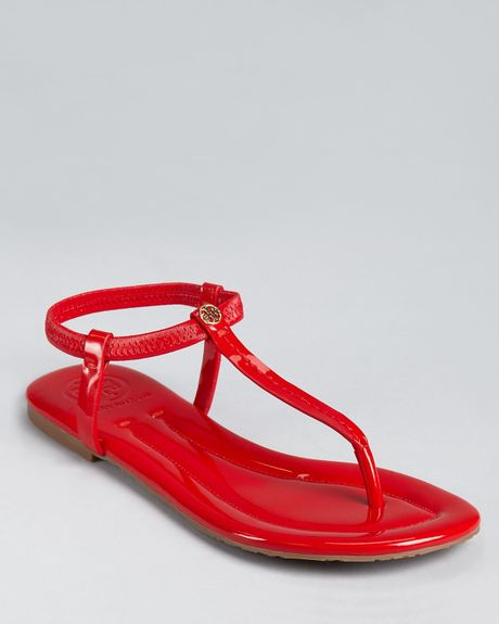 Tory Burch  Vickie Flat Thong Sandals in Red (tory red) - Lyst