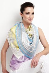 Versace Foulard Square Scarf Light Blue in Blue (null) - Lyst