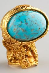 Saint Laurent Turquoise Glass Arty Ring - Lyst