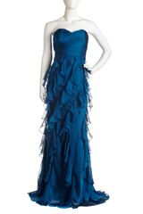 Badgley Mischka Strapless Ruffle Gown - Lyst