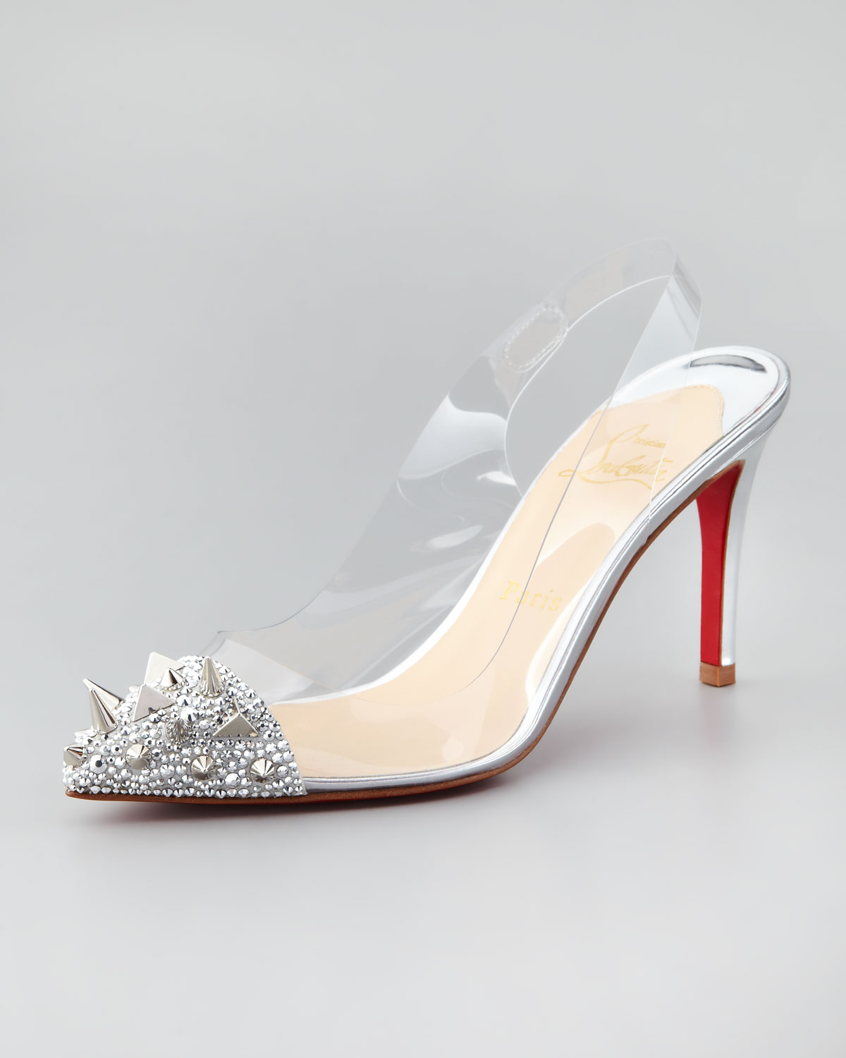 7118b82203a Lyst - Christian Louboutin Just Picks Studded Pvc Slingback Pump in ...