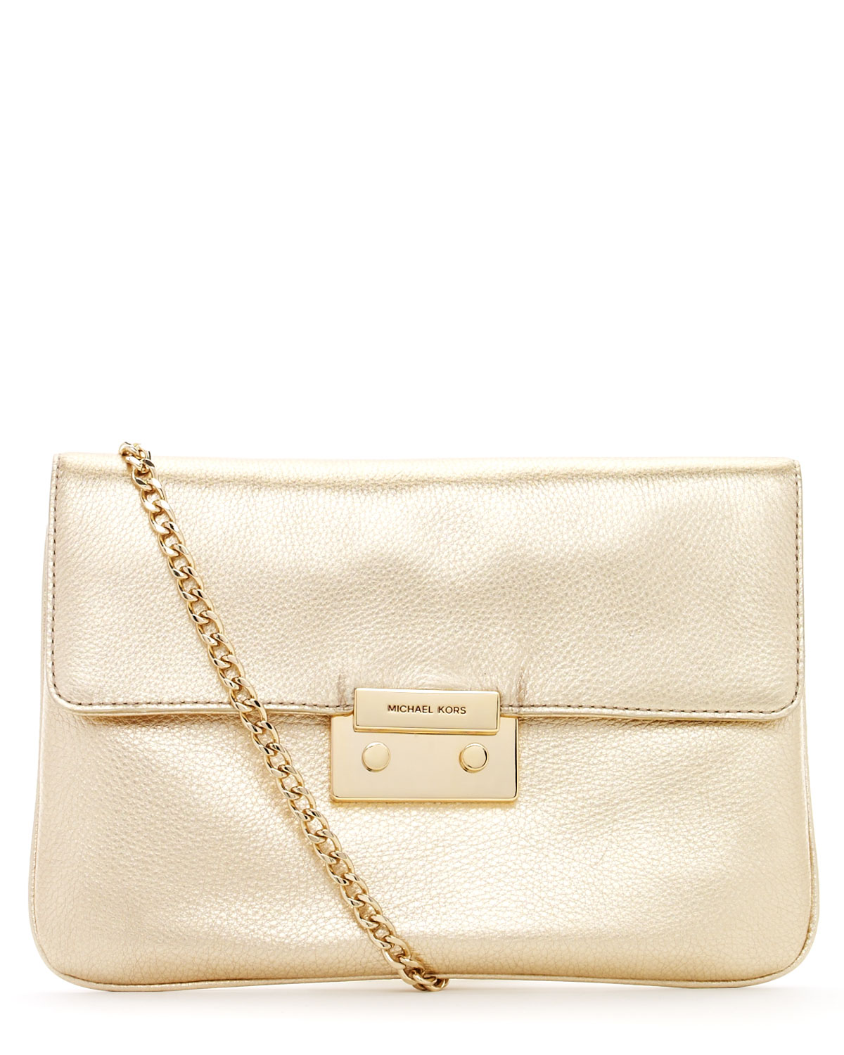 Michael michael kors Sloan Clutch Pale Gold in Metallic | Lyst