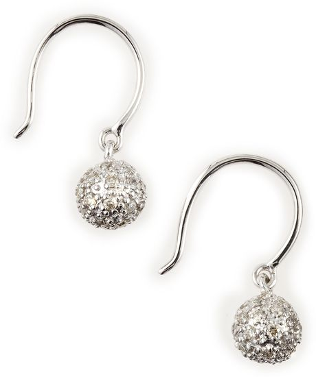 Sydney Evan White Gold Pave Fireball Drop Earrings in White (null) - Lyst