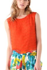 Alice + Olivia Mandy Chain Crop Top in Orange - Lyst
