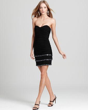 Basix Strapless Beaded Bottom Dress - Lyst