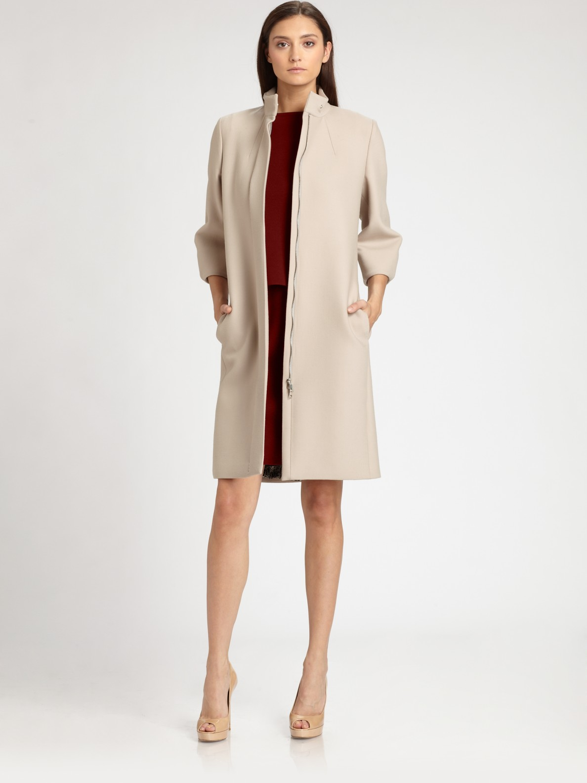 max mara wool coat in beige lyst. Black Bedroom Furniture Sets. Home Design Ideas
