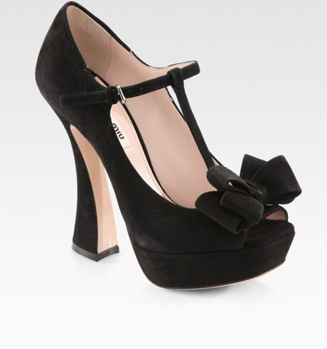 Miu Miu Suede Peep Toe Tstrap Bow Pumps in Black - Lyst