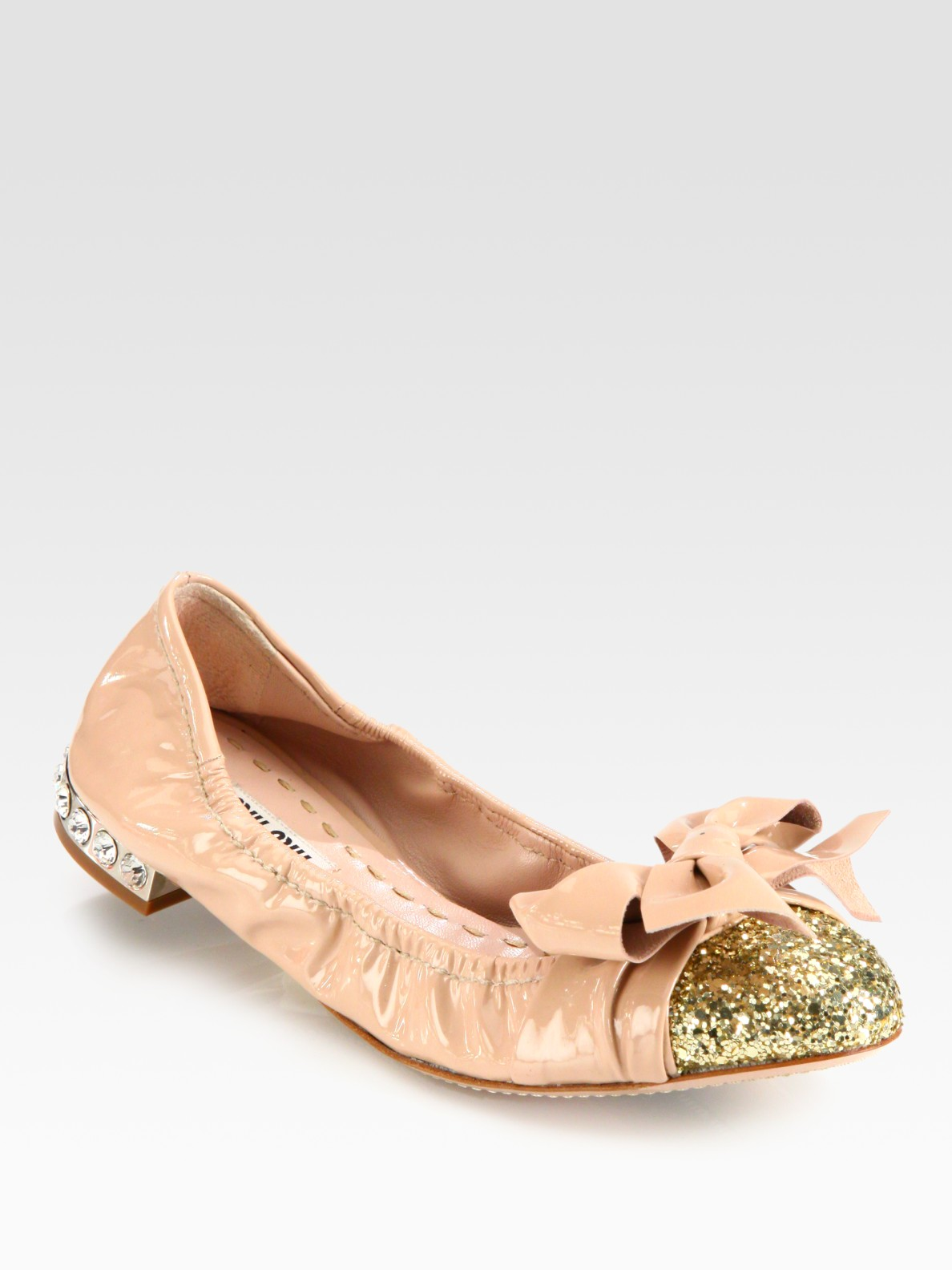 miu miu glitter patent leather bow ballet flats in beige nude lyst. Black Bedroom Furniture Sets. Home Design Ideas