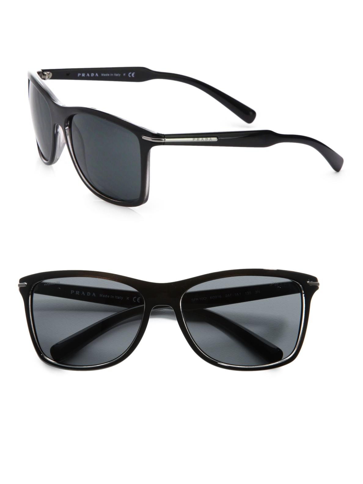 prada arrow wayfarer sunglasses in black for lyst