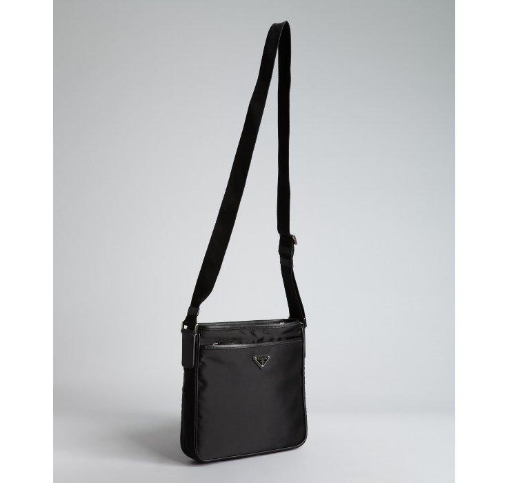 d862bc4025a667 ... cheap lyst prada black nylon logo mini messenger bag in black for men  e22b9 2b0d7